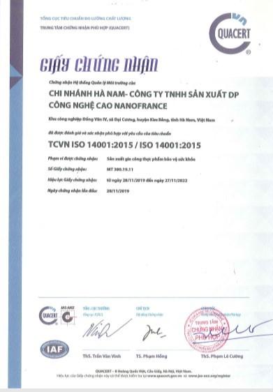 Chứng nhận thực hành sản xuất tốt và đạt chuẩn ISO